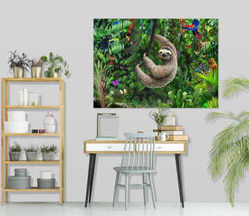 3D Forest Sloth 019 Adrian Chesterman Wall Sticker