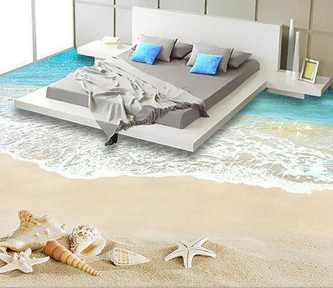 3D Beach Sea Water WG017 Floor Mural Wallpaper AJ Wallpaper 2
