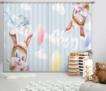3D Little Grey Rabbit 795 Curtains Drapes