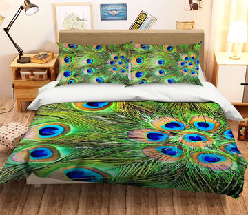 3D Beautiful Peacock Tail 001 Bed Pillowcases Quilt Wallpaper AJ Wallpaper