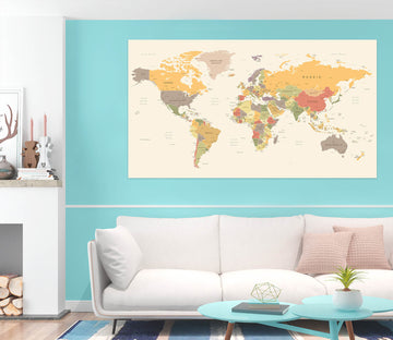 3D Yellow World Map 1083 Wall Sticker