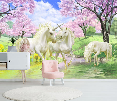 3D Park White Unicorn 012 Wall Murals