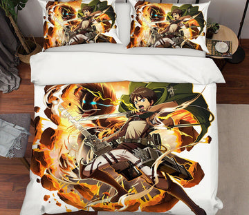 3D Attack On Titan 11 Anime Bed Pillowcases Quilt Quiet Covers AJ Creativity Home