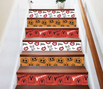 3D Cute Pumpkin And Ghost 644 Stair Risers