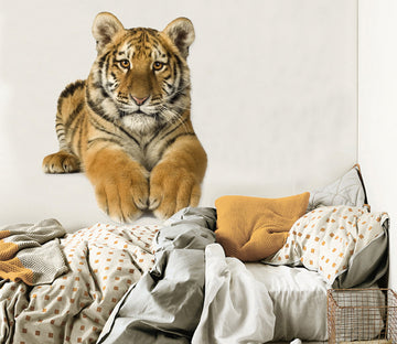3D Leg Stretched Tiger 174 Animals Wall Stickers