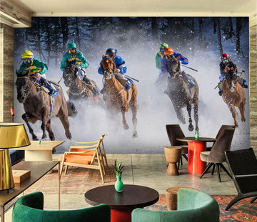 3D Horse Racing 989 Vehicle Wall Murals
