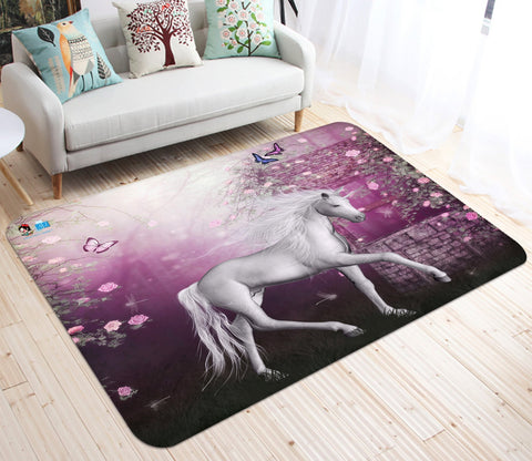 3D Flower Butterfly Unicorn 22 Non Slip Rug Mat Mat AJ Creativity Home
