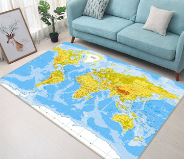 3D Green Land 291 World Map Non Slip Rug Mat