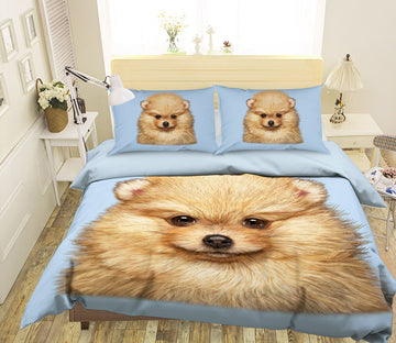 3D Pomeranian Puppy 070 Bed Pillowcases Quilt Exclusive Designer Vincent
