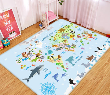 3D Animal Collection 312 World Map Non Slip Rug Mat