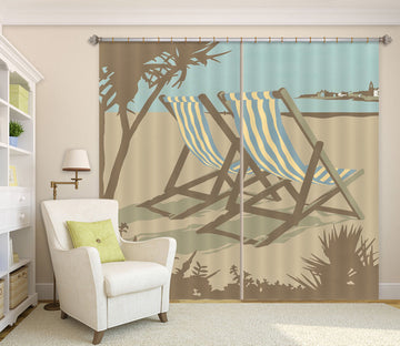 3D Swanage Deckchairs 161 Steve Read Curtain Curtains Drapes