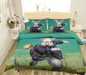 3D White Rabbit 100 Bed Pillowcases Quilt Exclusive Designer Vincent