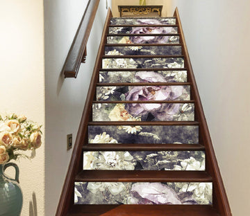 3D Purple Flowers 573 Stair Risers