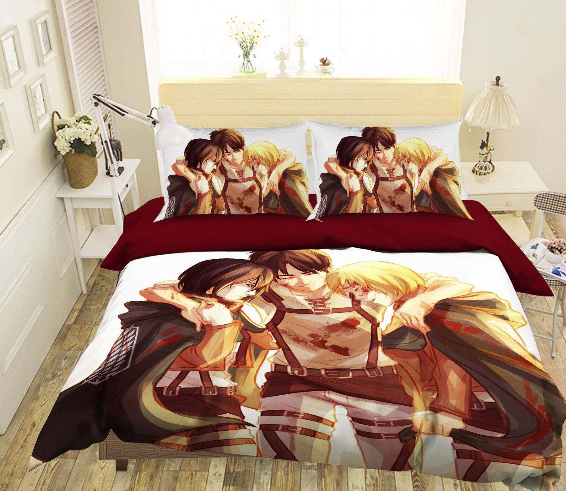 3D Attack On Titan 02 Anime Bed Pillowcases Quilt Quiet Covers AJ Creativity Home