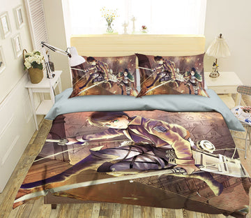 3D Attack On Titan 1776 Anime Bed Pillowcases Quilt Quiet Covers AJ Creativity Home