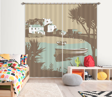 3D River Boat 156 Steve Read Curtain Curtains Drapes