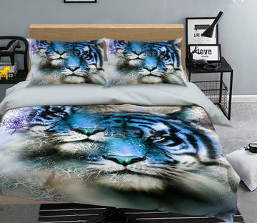 3D Blue Tiger 119 Bed Pillowcases Quilt