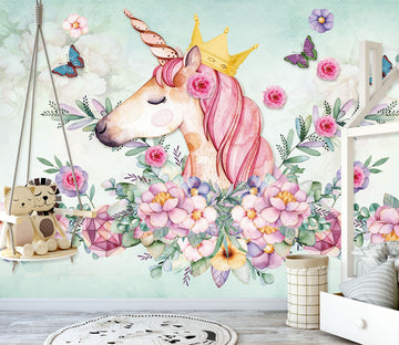 3D Pink Unicorn 1440 Wall Murals