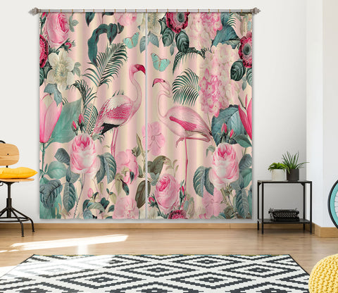 3D Flamingo Forest 055 Andrea haase Curtain Curtains Drapes