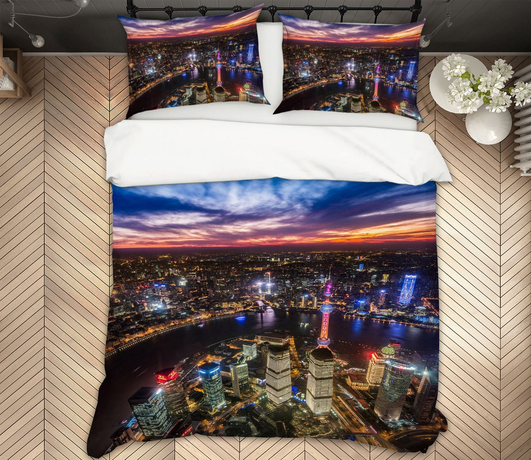 3D Aerial Night Scene 2146 Marco Carmassi Bedding Bed Pillowcases Quilt Quiet Covers AJ Creativity Home