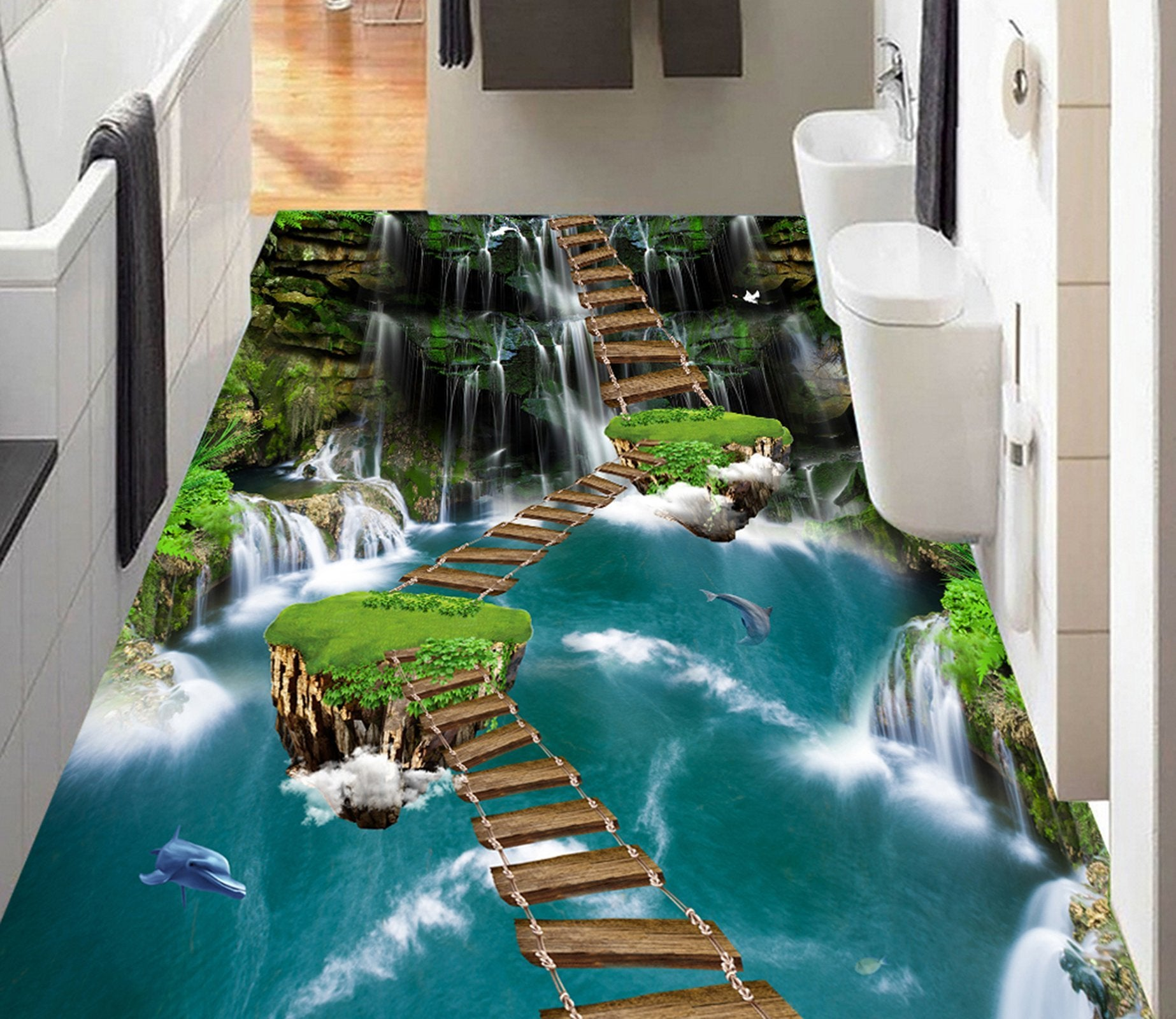 3D Wooden Bridge WG323 Floor Mural