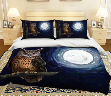 3D Moon Owl 114 Bed Pillowcases Quilt