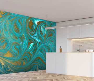 3D Green Abstract Painting 31 Wall Murals