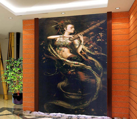3D Beauty Playing The Flute 42 Wall Murals