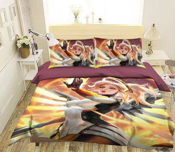 3D Armor Wings Girl 358 CG Anime Bed Pillowcases Duvet Cover Quilt Cover
