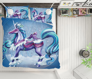 3D Cold Unicorn 132 Rose Catherine Khan Bedding Bed Pillowcases Quilt