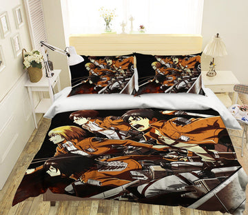 3D Attack On Titan 17 Anime Bed Pillowcases Quilt Quiet Covers AJ Creativity Home