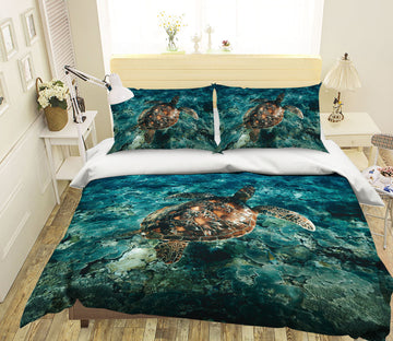 3D Deep Sea Turtle 1937 Bed Pillowcases Quilt