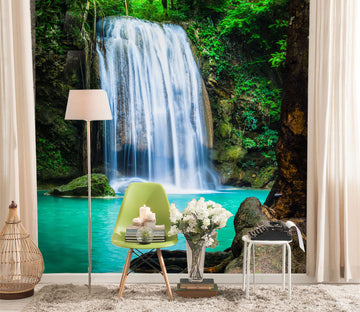 3D Forest Waterfall 127 Wall Murals
