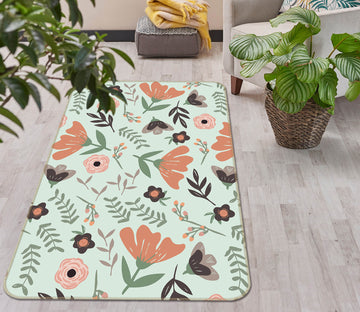 3D Colored Flowers 1109 Jillian Helvey Rug Non Slip Rug Mat