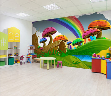 3D Cartoon mushrooms with rainbow 23 Wall Murals