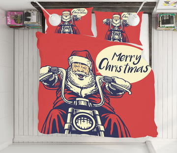 3D Motorcycle Santa 64035 Bed Pillowcases Quilt