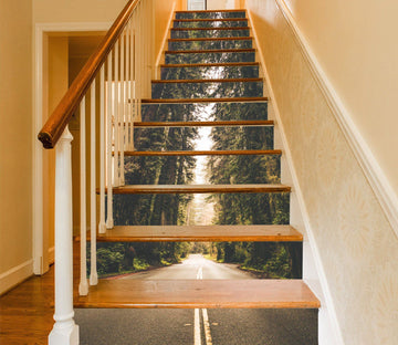 3D Forest Road 1429 Stair Risers Wallpaper AJ Wallpaper