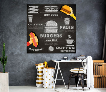 3D Hamburger Hot Dog 1075 Wall Sticker