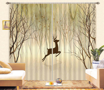 3D Jumping Fawn 739 Curtains Drapes