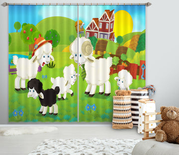 3D Cow Farm 713 Curtains Drapes