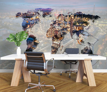 3D Building World Map 1092 Wall Murals
