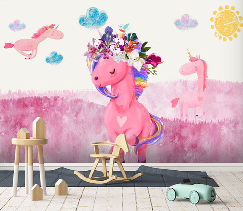3D Pink Cartoon Unicorn 008 Wall Murals