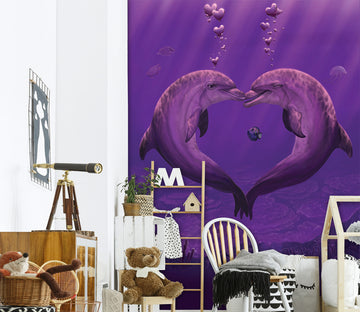3D Dolphin Love 1545 Wall Murals Exclusive Designer Vincent