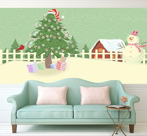 3D Beautiful Christmas Tree And Snowman Wallpaper AJ Wallpaper