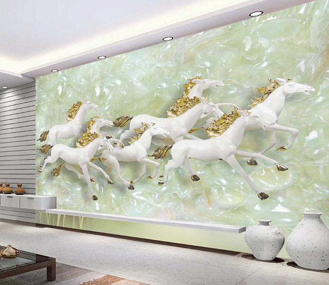 3D Galloping Jade Horse Wallpaper AJ Wallpaper 1