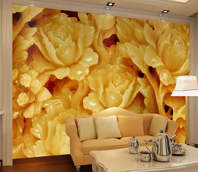 3D Flowers large jade stone Wallpaper AJ Wallpaper 1