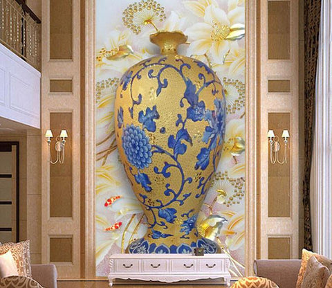 3D Blue Flower Beautiful Porcelain Vase - AJ Walls - 1