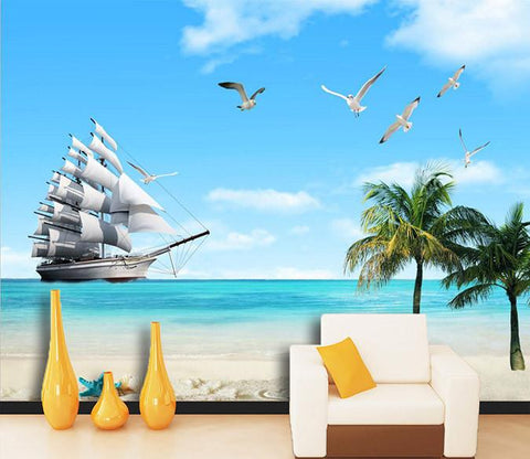 3D Sunny beach boat birds Wallpaper AJ Wallpaper 1