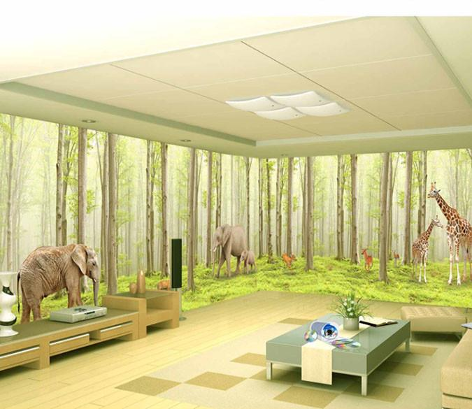3D Forest Scene Giraffe Elephant Wallpaper AJ Wallpaper 1