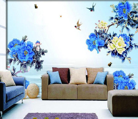 3D Bird blue flower decals Wallpaper AJ Wallpaper 1